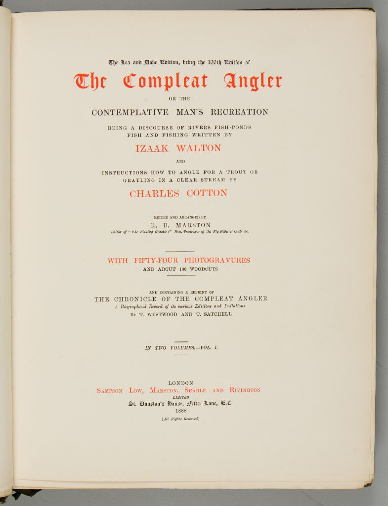 The Compleat Angler Or The Contemplative Man's Recreation By Izaak Walton And Charles Cotton, Volume 1