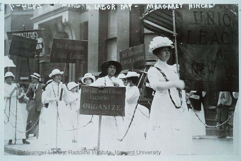 Labor and Suffrage Activists Marching in a Labor Day Parade