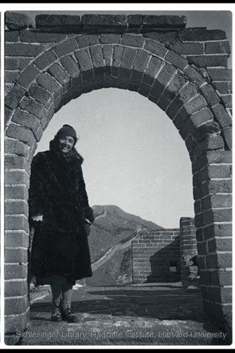 Hilda Standish on the Great Wall of China.