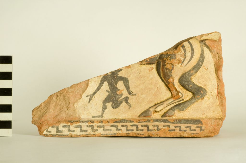 Fragment of a terracotta sima, with winged horse and painted komast
