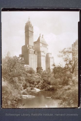 Photogrpah by Jessie Tarbox Beals. View of the Sherry-Netherland Hotel from Central Park, c. 1905-1915.