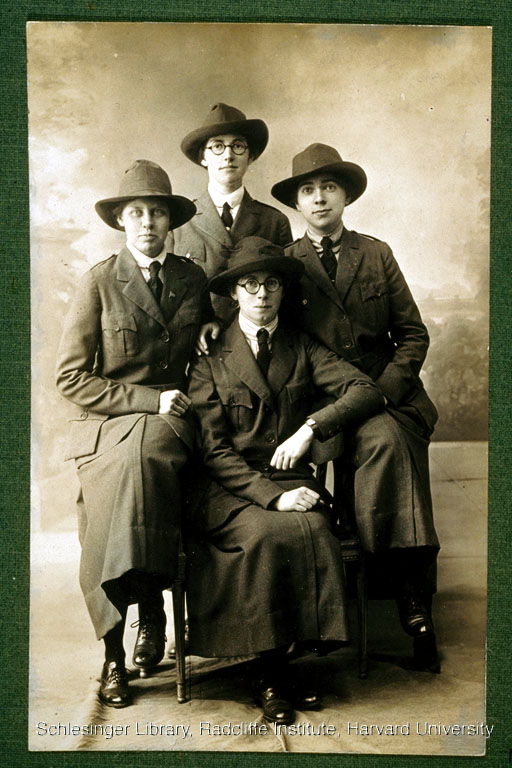 Group portrait of the Radcliffe Unit, a group of alumnae who aided in reconstructing French villages following World War I. Pictured, clockwise: Julia Collier, Katharine Shortall, Anna Holman, and Mary Burrage.
