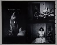 Untitled (two photographs: boy leaning on tree; woman cutting cake)