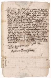 Testimony of John Stedman about John Glover's land, 1656 April 11 Digital Object