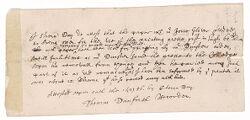 Testimony of Stephen Day regarding paper for printing provided by Joseph Glover, 1656 April 1 Digital Object