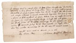 Affidavit of Stephen Day regarding the Glover family silver, 1656 April 2 Digital Object