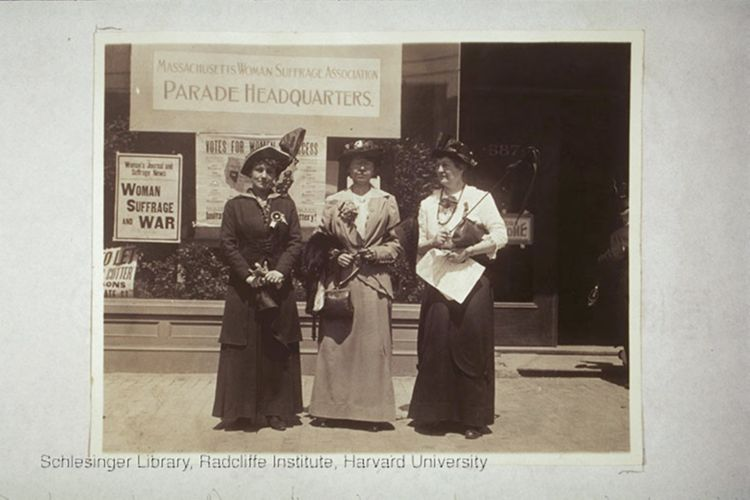 Three women outside the MA Woman Suffrage Assocation, 1914.