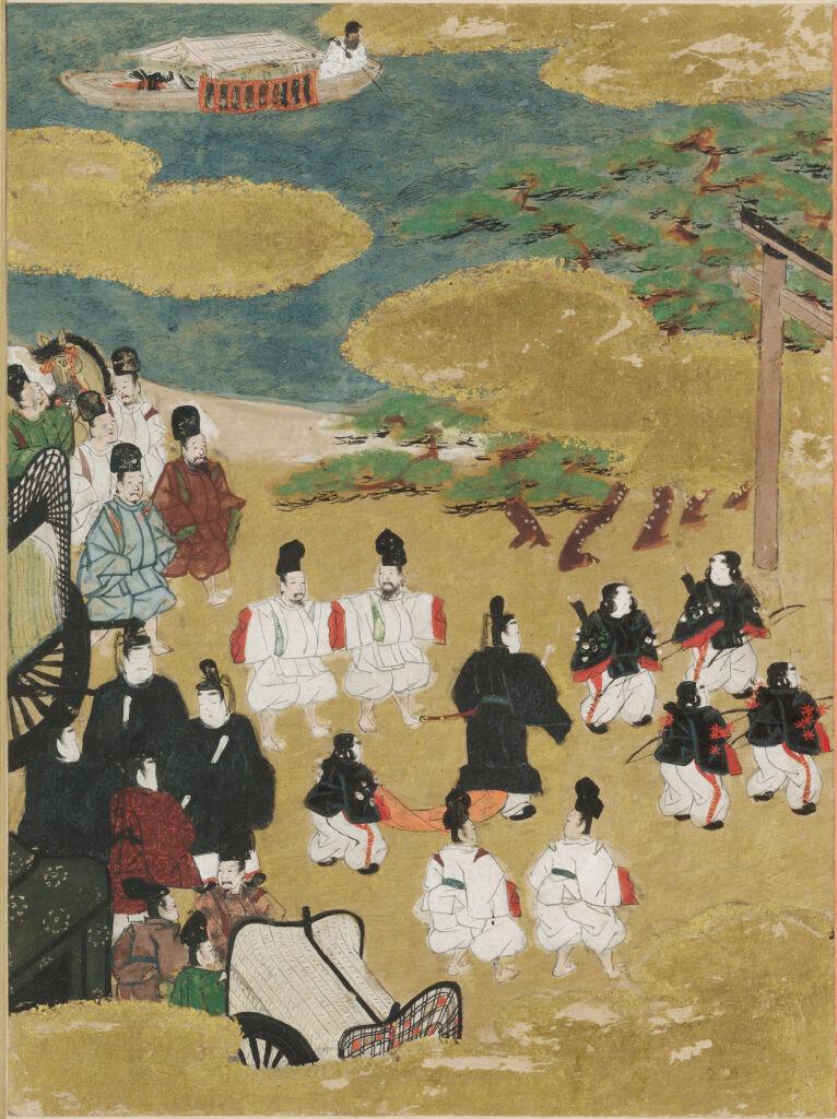 The Pilgrimage To Sumiyoshi (Miotsukushi), Illustration To Chapter 14 Of The Tale Of Genji (Genji Monogatari)