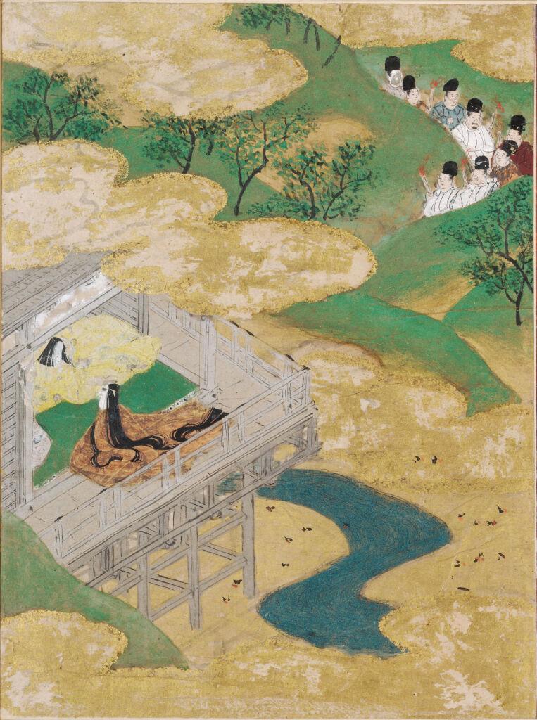 The Floating Bridge Of Dreams (Yume No Ukihashi), Illustration To Chapter 54 Of The Tale Of Genji (Genji Monogatari)