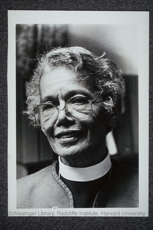 Portraits of Murray wearing her clerical collar.