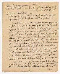 Letter from Samuel Langdon to Deacon Samuel Hart, 1746 March 19 Digital Object