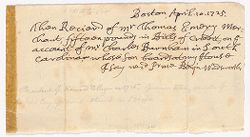 Receipt to Thomas Emory from Benjamin Wadsworth, 1725 April 10 Digital Object