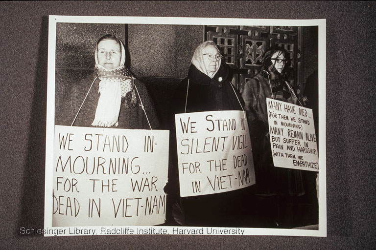 Florence  Luscomb and two other women standing in vigil for the Vietnam War dead