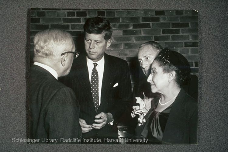 Jennie Loitman Barron speaking with John F. Kennedy