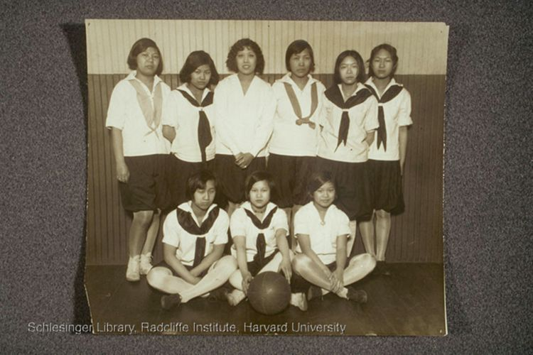 Group portrait of the Denison House Chinese girls' basketball team.