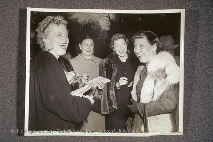 Nash and other journalists with Mamie Eisenhower at press conferences. One with Eisenhower's press secretary.