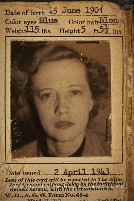 War Dept. war correspondent identification card for July 14-August 25, 1944.