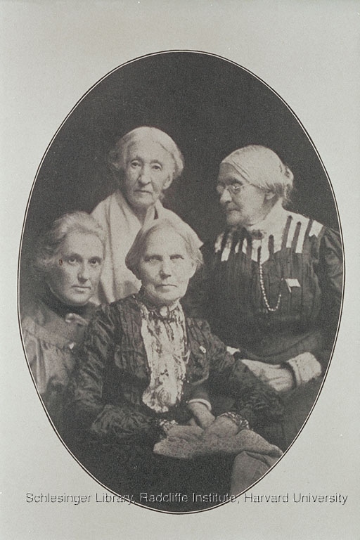 Photograph of Susan B. Anthony, with Elizabeth Smith Miller, her daughter Anne Fitzhugh Miller, and Mary S. Anthony, 1905.