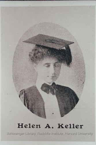 Helen Keller in graduation regalia