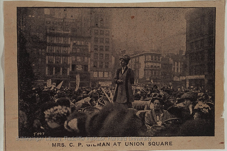 Charlotte Perkins Gilman speaking in Union Square, 1908-1912.