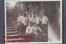 Young Chinese women, probably students at the Union Girls School, outside an unidentified building and standing along a stepped path. Possibly taken by Thyra Pedersen.