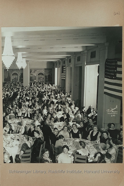 Group portrait of mostly women at the Banquet and Conference on the Cause and Cure of War. At the head table in A62-7vo-1l, First Lady Eleanor Roosevelt is seventh from the left and Carrie Chapman Catt is eighth from the left.