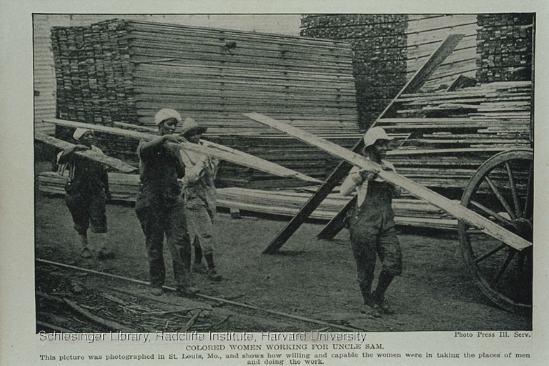 African American women working in connection with leather tanning and in a lumber yard.