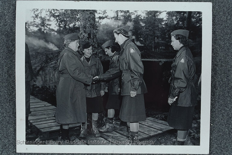 Edith Rogers meeting members of the Women's Army Corps during her visit to Italy during World War II.