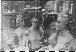 [Shop Window Mannequins, With Reflection Of Pedestrians, Cars, And Buildings, Germany]