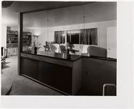 Ford Residence, Lincoln, Massachusetts, 1938-1939: Wall dividing living and dining rooms