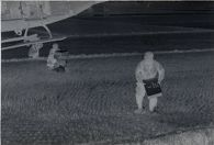 Untitled (soldiers in rice paddy carrying supplies from helicopter, Vietnam)