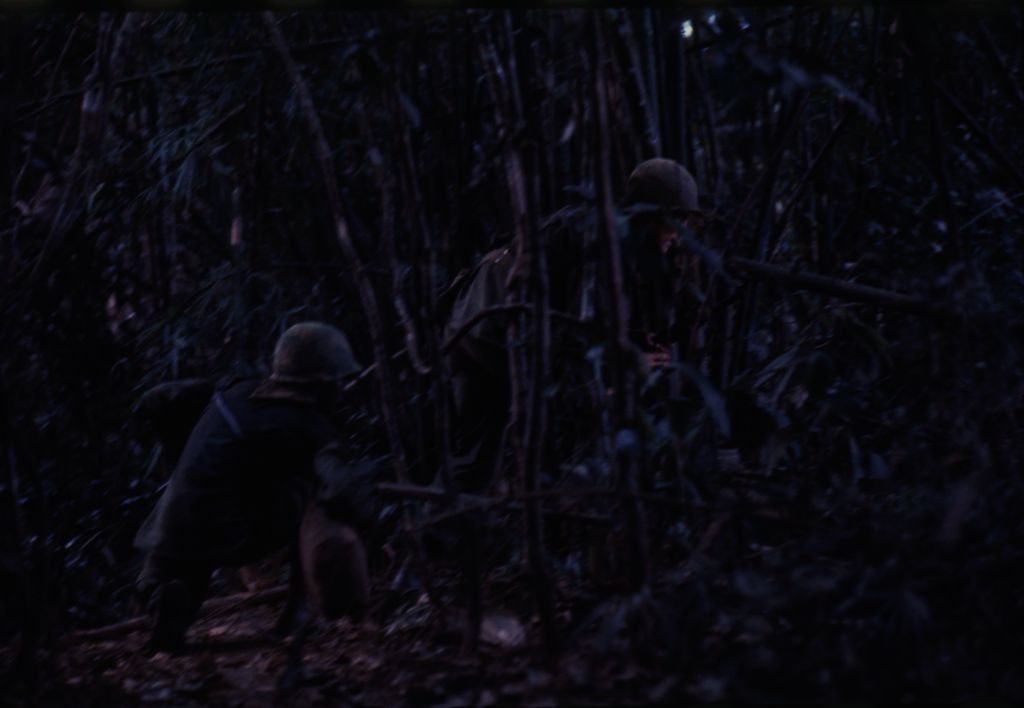 Untitled (Camouflaged Soldiers In Jungle During Fighting In Central Highlands Near Dak To, Vietnam)