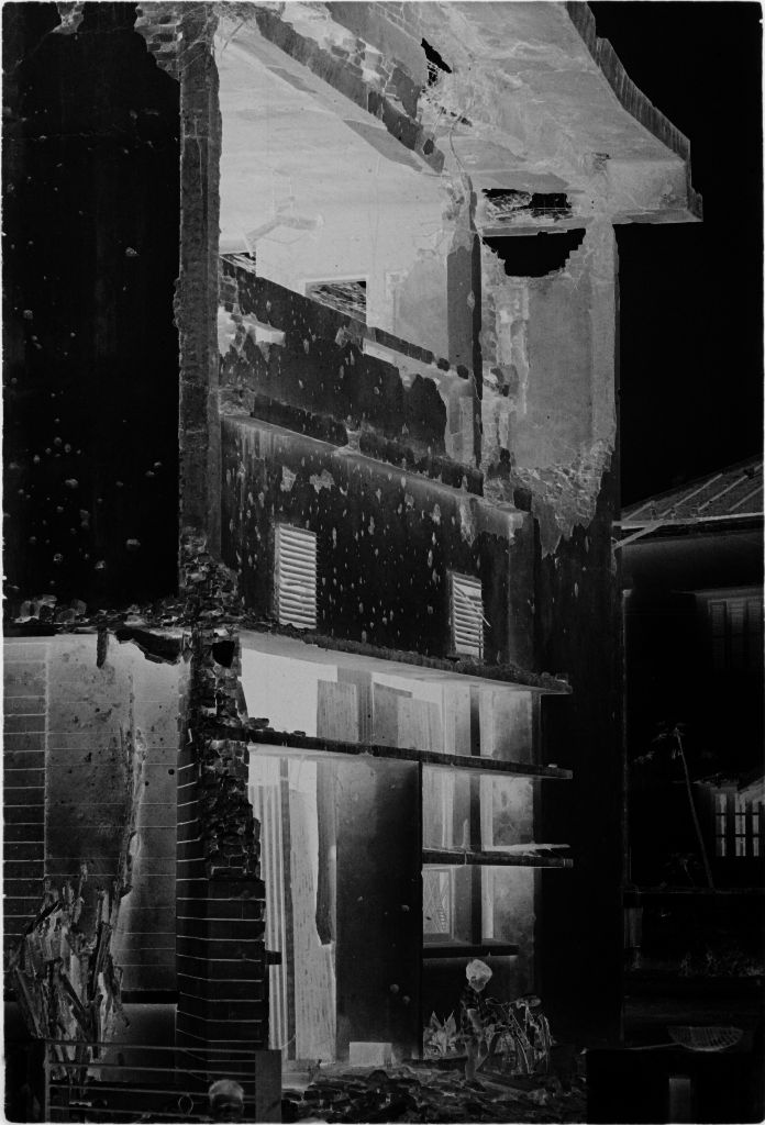 Untitled (Artillery-Damaged Building With Wall Of Upper Story Missing, Hue, Vietnam)
