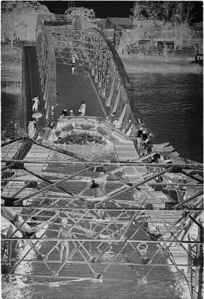 Untitled (Partially Destroyed Bridge With Temporary Pontoon Bridges, Perfume River, Hue, Vietnam)