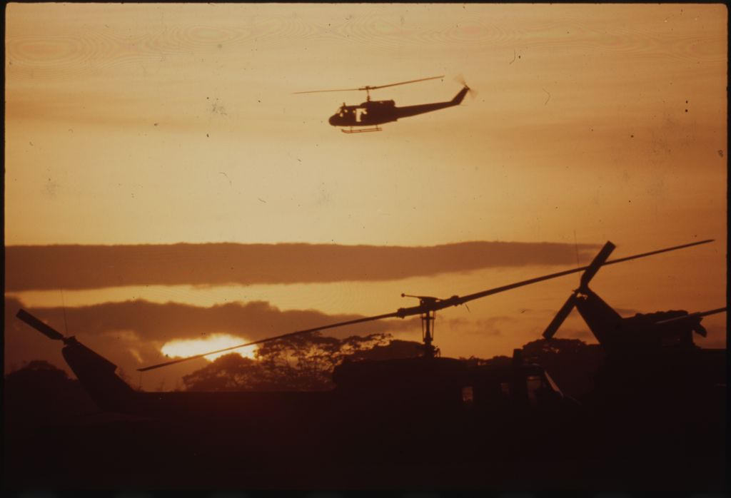 Untitled (Helicopters Silhouetted Against Setting Sun, Vietnam)