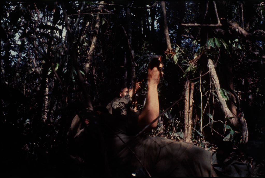 Untitled (Soldiers In Jungle Firing Into Trees During Fighting In Central Highlands Near Dak To, Vietnam)