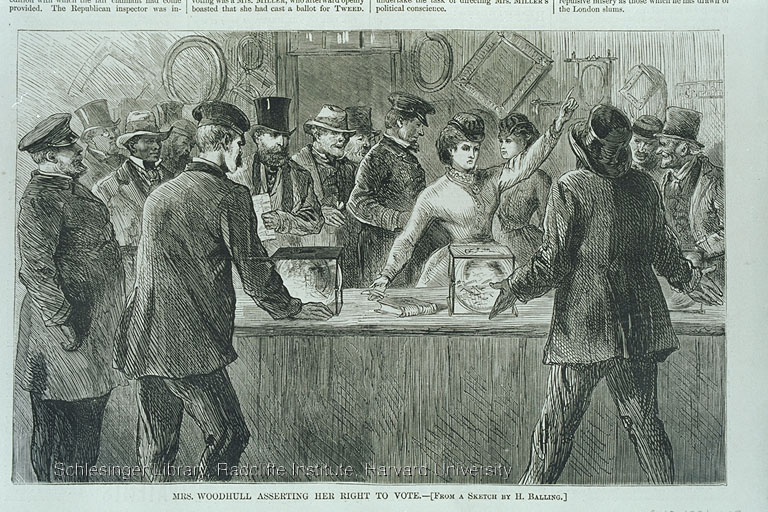 Victoria Woodhull, the only woman at the polls, attempting to cast a ballot. Published in Harper's Weekly, Nov. 25, 1871, p. 1109.