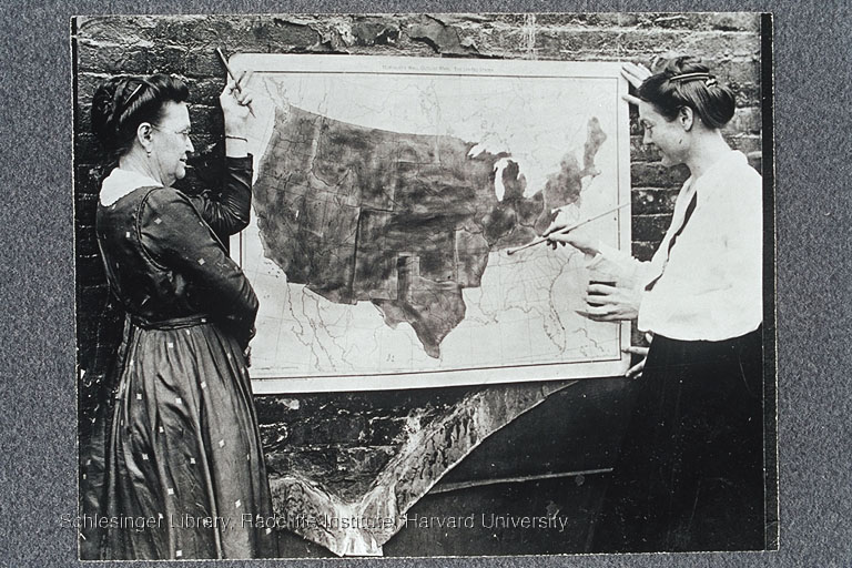 Florence Luscomb coloring in Tennessee on the Ratification map, 1919.