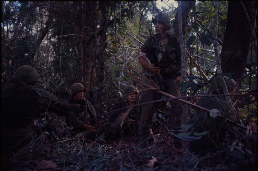 Untitled (Soldiers Sitting In Jungle During Fighting In Central Highlands Near Dak To, Vietnam)