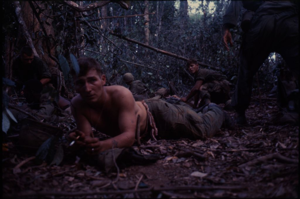 Untitled (Soldiers At Aid Station In Jungle On Hill 882, Central Highlands Near Dak To, Vietnam)