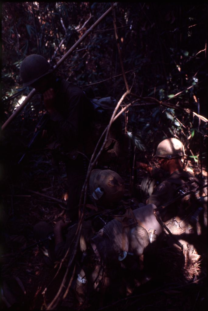 Untitled (Soldiers In Combat Gear In Jungle Of Central Highlands Near Dak To, Vietnam)