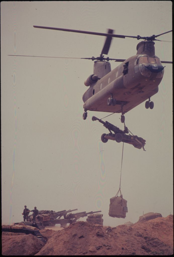 Untitled  (Chinook Helicopter Lifting 105Mm Howitzer, Vietnam)