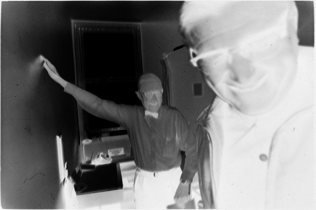 Untitled (Dr. Herman M. Juergens Laughing With Patient After Appointment)