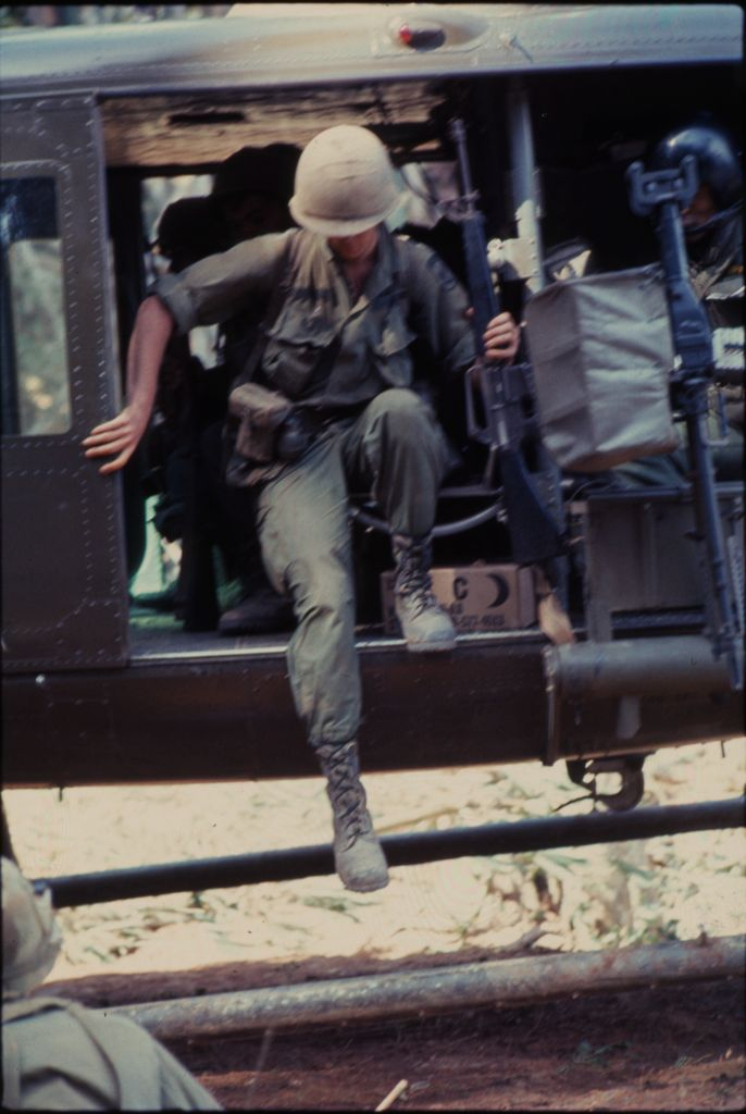 Untitled (Soldier Exiting Helicopter, Central Highlands Near Dak To, Vietnam)