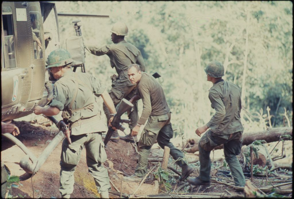 Untitled (Soldiers By Helicopter In Jungle, Central Highlands Near Dak To, Vietnam)