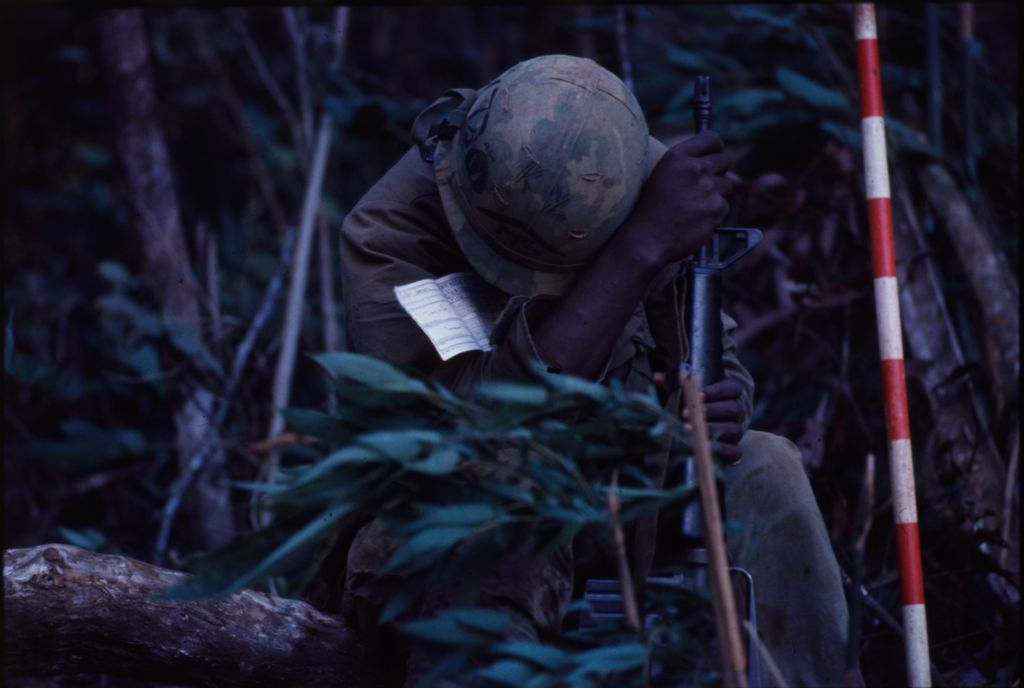 Untitled (Soldier In Jungle Following Battle For Hill 882, Central Highlands Near Dak To, Vietnam)