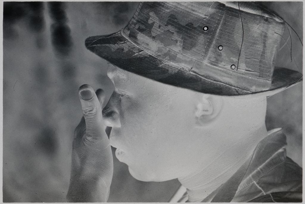 Untitled (Profile Of Soldier In Camouflage Hat, Vietnam)