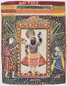 Shrinathji In A Shrine Flanked By Worshipers
