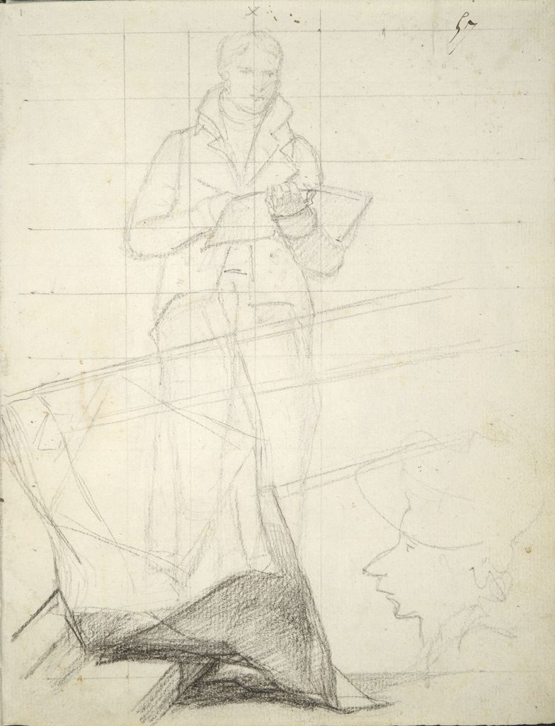 Study Of The Artist Standing Sketching; Lowered Banners; Profile Caricature; Verso: Facade Of A Building