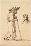Old Man with a Walking Stick; Head of a Young Woman